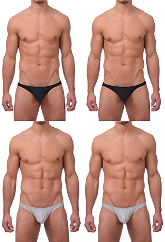 Gary Majdell Sport Men's New 4 Pack Bikini Underwear by Black/Grey Medium