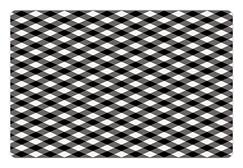 Gingham Mat (Abstract Pet Mats for Food and Water by Lunarable, Vintage Gingham Pattern Grid Tartan Nostalgic Lines Large Stripes Artsy Image, Rectangle Non-Slip Rubber Mat for Dogs and Cats, Black and White)