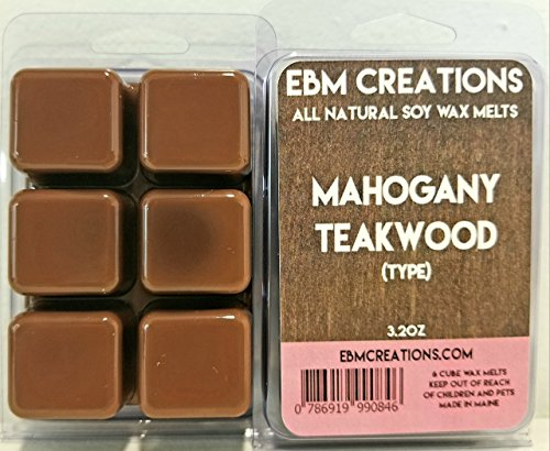 Mahogany Teakwood (Type) - Scented All Natural Soy Wax Melts - 6 Cube Clamshell 3.2oz Highly Scented! -