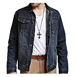 Juway Mens Vintage Denim Jacket For Fall(Blue,L)