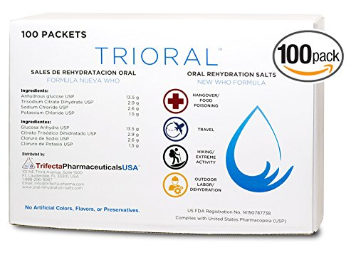 (Oral Rehydration Salts ORS (100, One Liter Packets/Box) World Health Organization (WHO) New Formula for Food Poisoning, Hangovers, Diarrhea, Electrolyte Replacement)