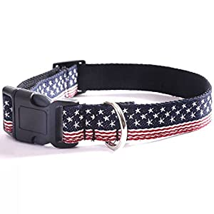American US Flag Nylon Dog Collar - Patriotic, Fourth of July Independence Day Dog Collar, Adjustable for Small Puppy Medium Large Breeds Dog - S