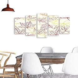 UHOO 5 Piece Wall Art PaintingSeamless Pattern with Watercolor Maple Leaves. All Decor Gift