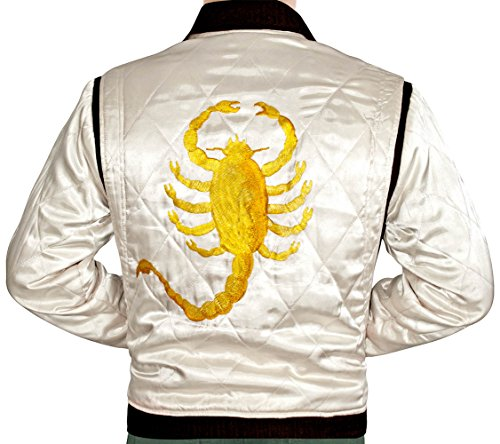 (Ryan Gosling Quilted Drive Jacket with Golden Scorpion Embroidery)