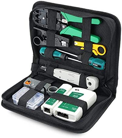 sahnah 12Pcs Portable LAN Network Repair Tool Kit UTP Cable Tester Plier Crimper