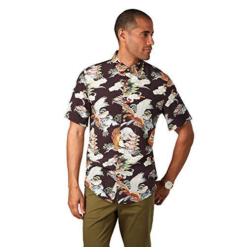 7 Diamonds Men's Flight Over Tokyo Short Sleeve Shirts (Brown,L)