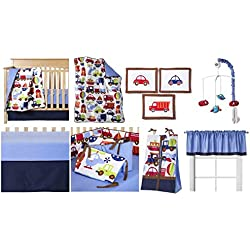 Transportation Multicolor 10 piece Crib Bedding Set, cars, trucks, helicopters