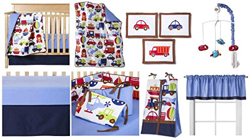 Transportation Multicolor 10 pc Crib Set