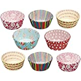 Hpk Greaseproof Paper Cake Cups Muffin Cupcake Liners, 100-Pieces, Multicolour