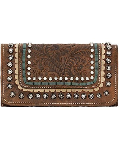 Handbag American Western West (American West Leather Ladies' Tri-Fold French Wallet (Blue Ridge - Charcoal Brown))