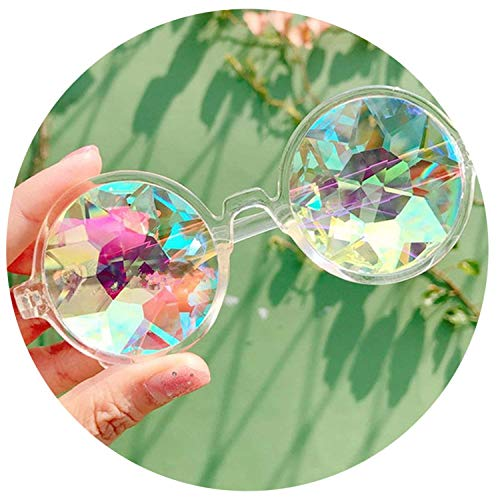 Round Glasses Rave Festival Holographic Kaleidoscope Party Sunglasses Retro,Clear,55Millimeters ()