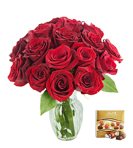 KaBloom Valentine's Day Special: Romantic Red Rose Bouquet of 18 Fresh Cut Red Roses (Long Stemmed) with Vase