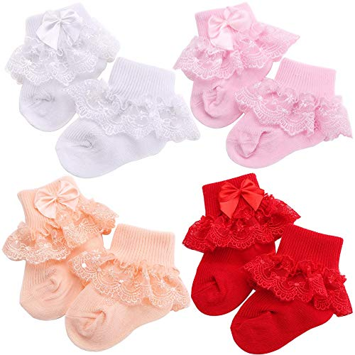 Amyzor 4 Pairs Eyelet Frilly Bow Lace Ruffles Baby Socks Newborn Cotton Baby Girls Sock Cute Newborn Toddler Infant Kids Socks Bowknot Party School Princess Style Stockings Baby Accessories, 1-2 -
