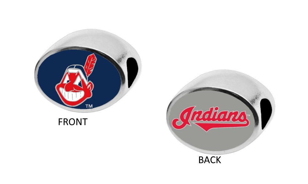 Cleveland Indians 2-Sided Bead Fits Most Bracelet Lines Including Pandora, Chamilia, Troll, Biagi, Zable, Kera, Personality, Reflections, Silverado and More Charm Bead Fits Pandora Style Bracelets