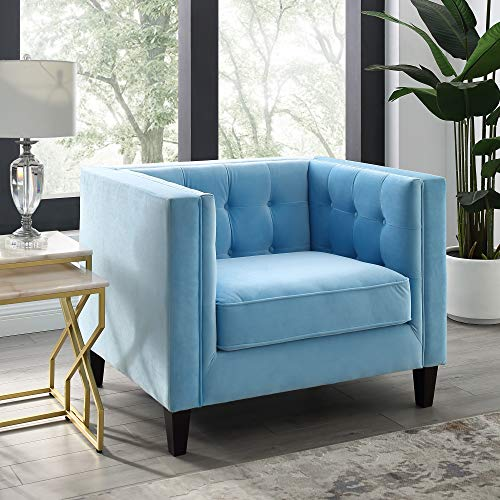 (Inspired Home Sky Blue Velvet Club Chair - Design: Lotte | Tufted | Square Arms | Tapered Legs | Contemporary)
