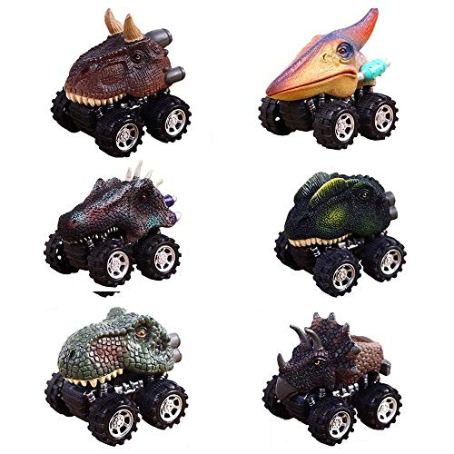 Dinosaur Toys Cars for 2-6 Year Old Boys, ZJQY Pull Back Dinosaur Cars Christmas Gifts for 2-6 Year Old Boys]()