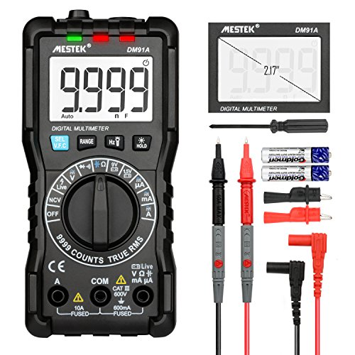 Digital Multimeter TRMS 9999 Counts MESTEK AC DC Current Voltage Auto-Ranging NCV VFC Battery Tester Amp Volt Ohm Hz Diode Resistance Frequency Capacitance Continuity Electric Meter with Probes&Clips