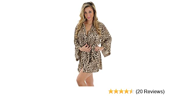59702612a7 Amazon.com  Animal Print Robe Wrap Leopard Print Sleepwear Great Gift Idea  Sizes  Small  Clothing