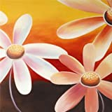 Oil Painting 'Pink Daisies' Printing On High Quality Polyster Canvas , 8x8 Inch / 20x20 Cm ,the Best Foyer Decoration And Home Artwork And Gifts Is This High Definition Art Decorative Prints On Canvas