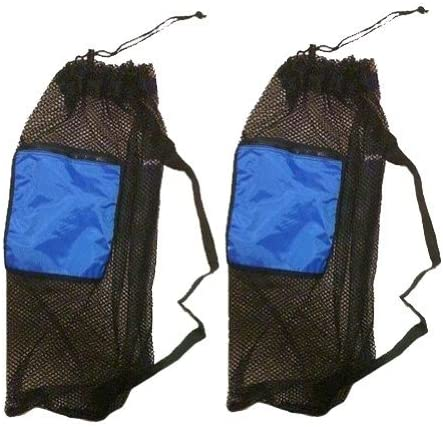 101SNORKEL 2 Pack Mesh Drawstring Snorkel Bag with Blue Zip Pocket
