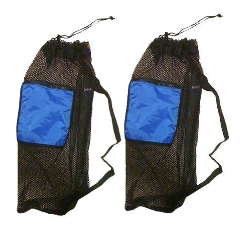 (101SNORKEL 2 PACK Mesh Drawstring Snorkel Bag with Blue Zip Pocket)