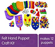 Colorations Felt Imaginary Hand Puppet Craft Kit for Kids, Makes 12 Puppets, Googly Eyes, Dragons, Dramatic Pl