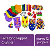 Colorations Felt Imaginary Hand Puppet Craft Kit for Kids, Makes 12 Puppets, Googly Eyes, Dragons, Dramatic Play, Imagination, Creatures, Role Play, Learning, Creativity