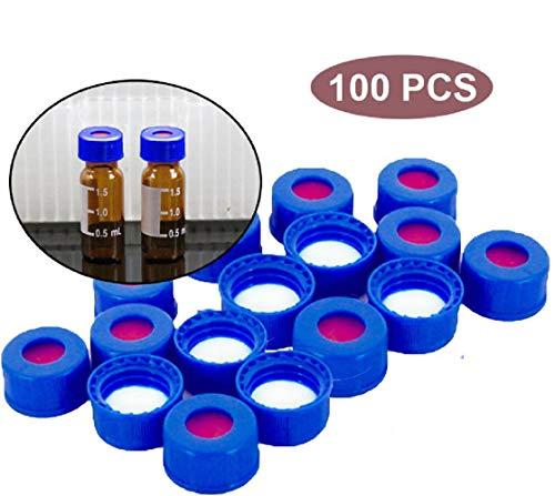 - Plastic Blue Screw Cap for 9-425 Thread Top Auto-Sample Vials, Anti-Erode PTFE/Silicone Pad, Fit HPLC Autosampler,Set of 100