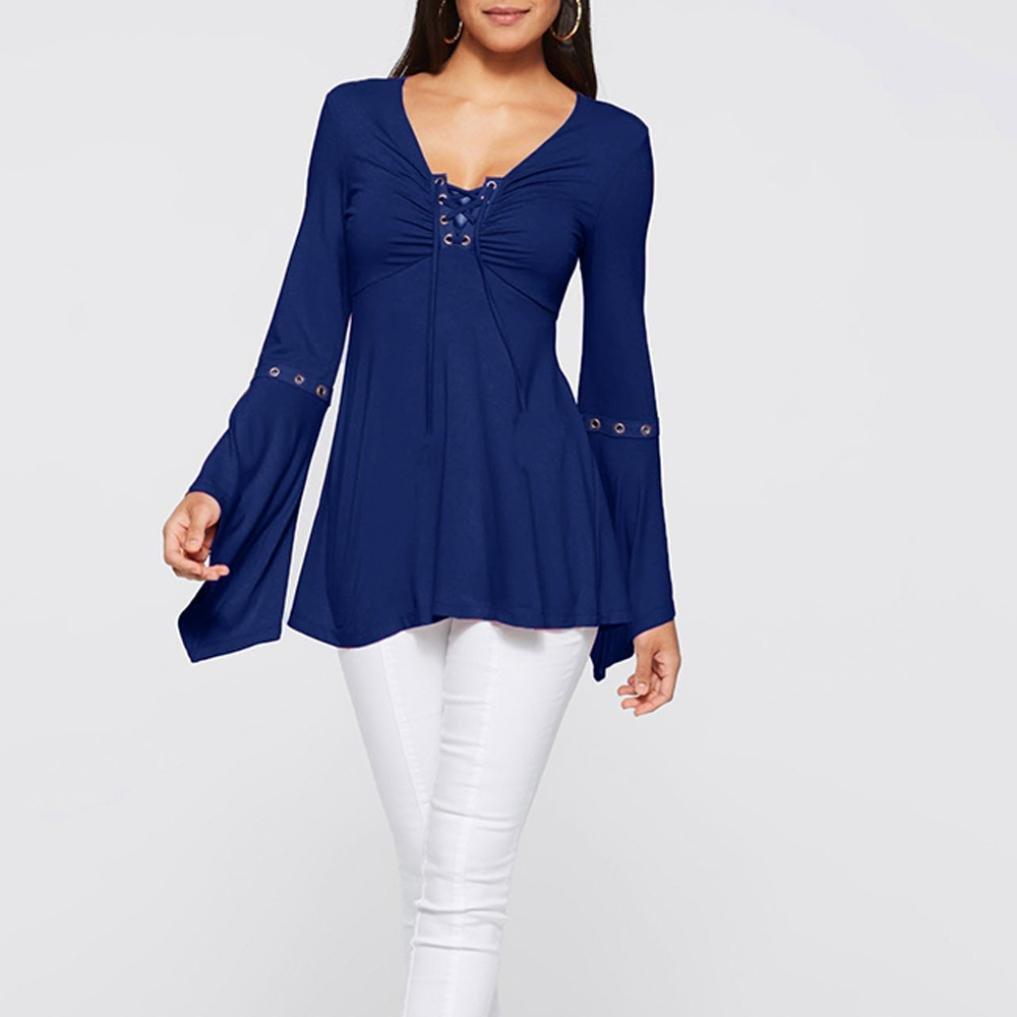Logobeing Mujeres Sueltas Camisa Underwrap S/ólida Camiseta Casual Blusa Suelta de Algod/ón Tops