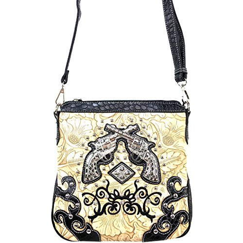 Cross Concealed Tooled Western Handbag Cross Flower Pistol Purse West Body Black Bag Double Messenger Carry Justin Embroidery q5wH70EXn5
