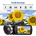 """Camcorder Digital Video Camera, Camcorder with Microphone IR Night Vision Vlogging Camera with Remote Control Full HD 1080P 30FPS 3"""" LCD Touch Screen"""