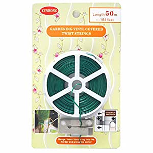 Garden Coated Twist Wire - KUNHONG 164 Foot Length Green Strings Spool For Plant Support, Bundle Bread Bags, Strap Cables ,1 Roll with Built-in Cutter, Softy, Easy To Bend