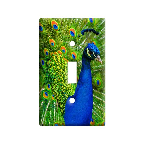 Peacock with Tail Feather Display - Plastic Wall Decor Toggle Light Switch Plate Cover