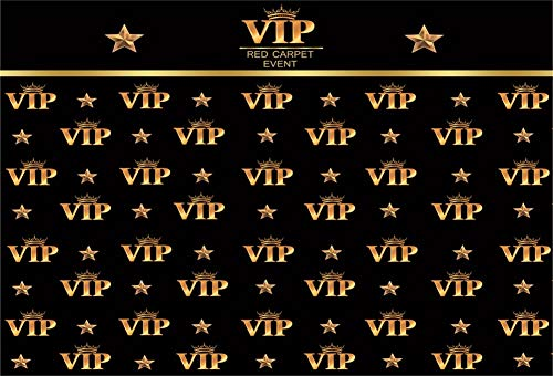 Vintage Images Free Royalty - Kakasi 9x6ft Black and Gold VIP Photography Backdrops Gold Stars Crown Red Carpet Event Party Wallpaper Decorations Studio Props Banner Supplies Very Important Person Portrait Photo Background