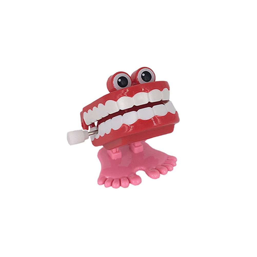 LUOEM Novelty Funny Vibrating Wind up Toys Walking Wind up Teeth with Eyes Feet Christmas Birthday Gift for Children Random Color