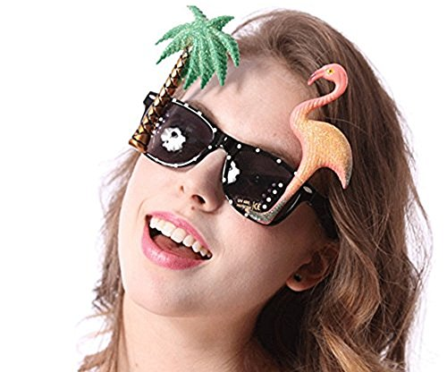 iFun iCool Womens Specs with Flamingo and Palm Tree Funny and Peculiar Sunglasses (Flamingo and Palm Tree) -