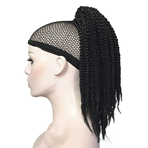 HJYS Wig in Beauty Wigs African American Braids Braided Ponytail Hairpiece Claw Clip on extensions Black