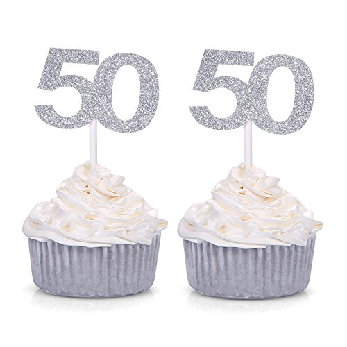 Giuffi Set of 24 Silver Number 50 Cupcake Toppers 50th Birthday Celebrating Party Decors