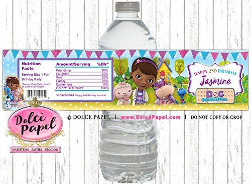 10 Doc McStuffins Awesome Pink and Purple Colorful Any Age Water Bottle Labels for your Birthday Party or Event