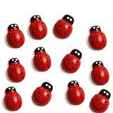 Wood Button Refrigerator Magnets, Fridge Magnets (12 Tiny Ladybug)