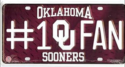NCAA Oklahoma Sooners #1 Fan Metal License Plate Tag