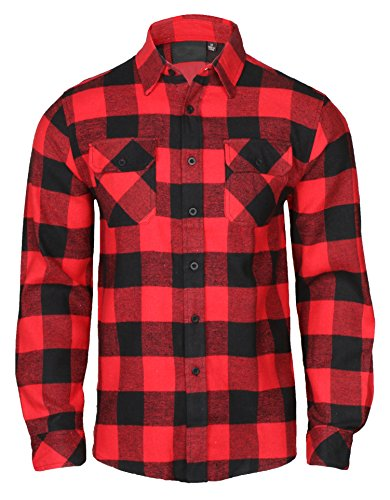 9 Crowns Men's Lightweight Plaid Flannel Shirt-NO Hood, Red/Black, XL
