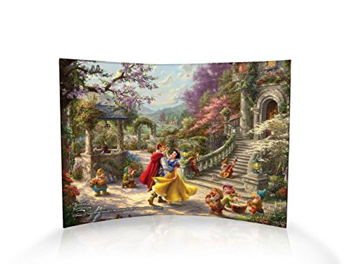 Trend Setters Disney – Thomas Kinkade – Snow White and The Seven Dwarves – Dancing with Prince – Curved Acrylic Print 10 x 7 – Free Standing Light catching Collectible ()