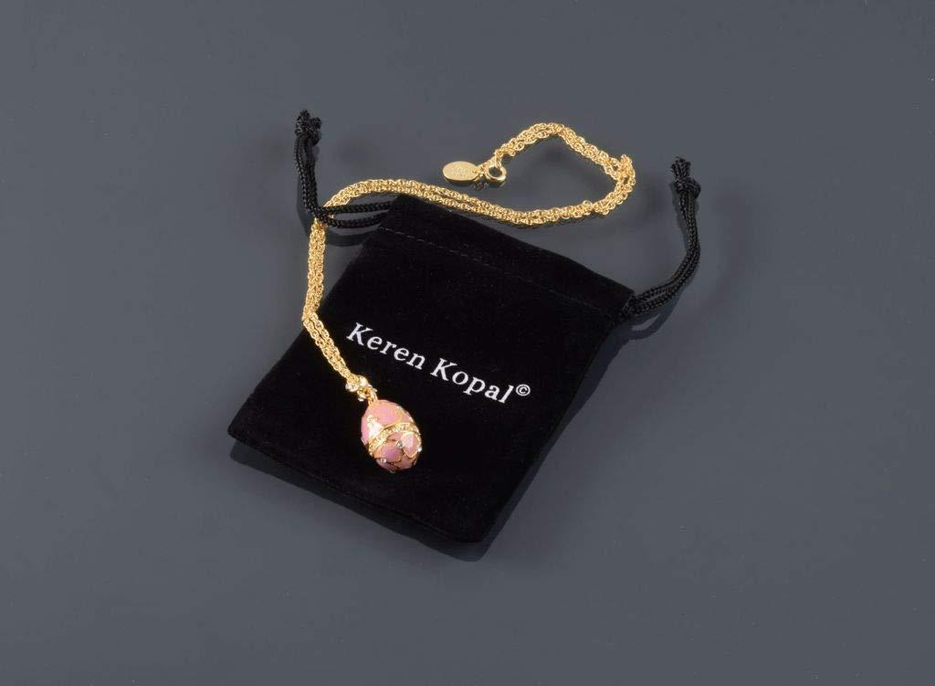 Keren Kopal Collar con Colgante de Huevo Rosa Dorado con Estilo Fabuloso rom/ántico Regalo Chic