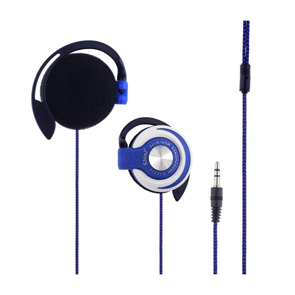 Lothver Shini Mdr-q170 3.5mm Mp3 ステレオ コンピューター 携帯電話 ユニバーサル サブウーファー 便利 重低音 ヘッドフォン イヤーフック イヤホン, ブルー  ブルー B07NM7L2WY