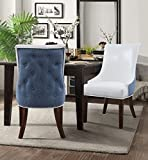 Iconic Home Grant PU Leather, Linen Modern Contemporary Button Tufted Swoop Arm with Silver Nailhead Trim Tapered Solid Birch Legs Dining Chair, Set of 2 White