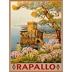 Rapallo Genoa Italy Italian Vintage European Travel advertisement Art Poster Print. Measures 10 x 13.5 inches
