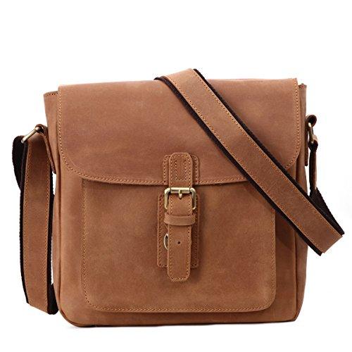 Leathario bolso bandolera con La primera capa de cuero de caballo loco para viaje o trabajo. Marrón claro