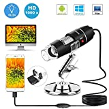 USB Microscope,1000x Zoom 1080p Digital Mini Microscope Camera with OTG Adapter and Adjustable Stand, Compatible for Android,Mac,Window,Linux