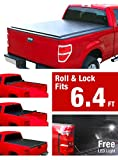 """Premium TCD262063 Low Profile Roll & Lock Tonneau Bed Cover Fits 2009-2017 Dodge Ram 1500; 2010-2017 Ram 2500 3500 6'4"""" Bed without Ram Box (with or without utility track system)"""